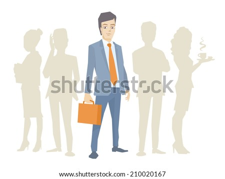 Vector illustration of a portrait of a man in a jacket lawyer with a briefcase in his hand stands in the center on a background of silhouette business team of businesspeople - stock vector