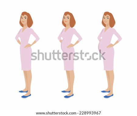 Vector illustration of a pregnant girl stages  - stock vector