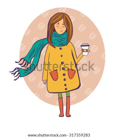 Vector illustration of a pretty girl in a cute yellow coat with take away coffee cup. Cute isolated girl drawn in doodle style with violet outline and bright colors. Oval background with coffee beans. - stock vector