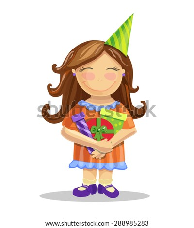 Vector illustration of a pretty little brown-haired girl with bright tasty gift boxes and party hat. Smiling child in a cute orange dress. - stock vector