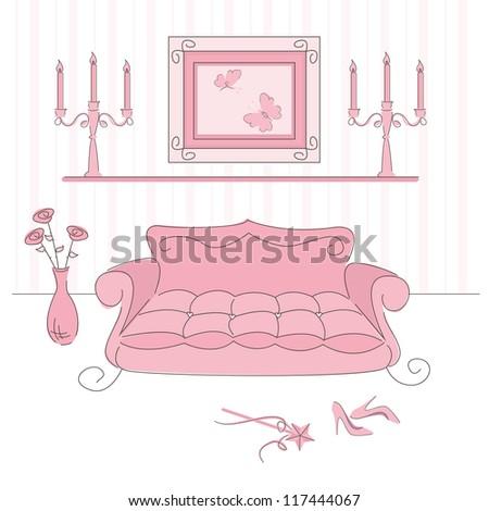 Vector illustration of a  princess living room - stock vector