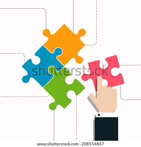 Vector Illustration of a Puzzle - stock vector