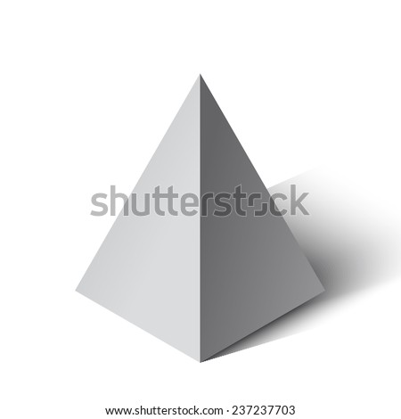 Vector illustration of a pyramid on a white background. - stock vector