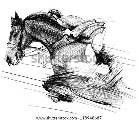 Vector illustration of a racing horse and jockey - stock vector