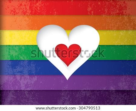 Vector illustration of a read heart over a lgbt rainbow flag - stock vector