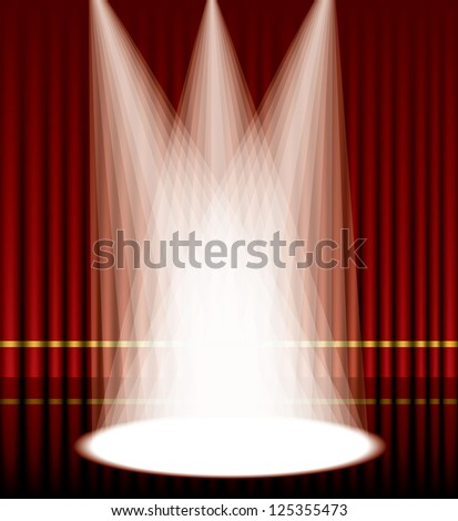 Vector illustration of a red curtain stage with lights. - stock vector