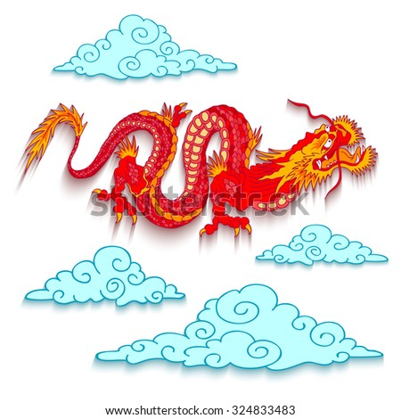Vector illustration of a red dragon cut out of paper - stock vector