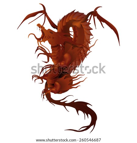 vector illustration of a red dragon with wings wireframe - stock vector