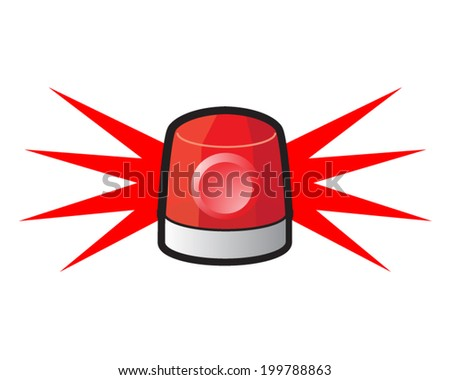 Vector illustration of a red flashing siren lamp - stock vector