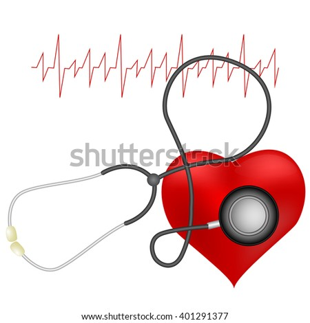 Vector illustration of a red heart with a realistic stethoscope and cardiogram.  - stock vector