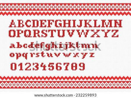vector illustration of a red knitting alphabet on white background - stock vector