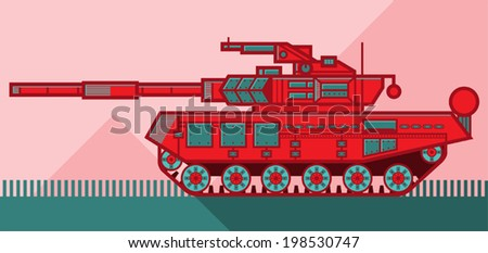 Vector illustration of a red military tank on a pink background. - stock vector