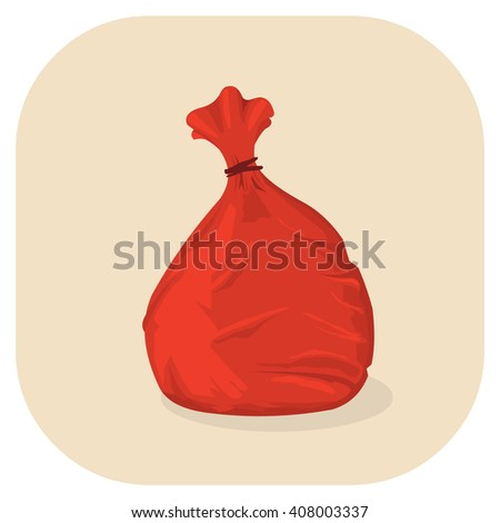 Vector illustration of a Red plastic garbage bag icon. Tied plastic trash sacks ready for disposal and garbage collection. - stock vector