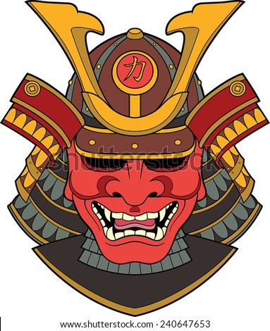 Vector illustration of a red samurai mask  - stock vector