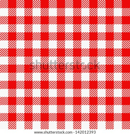 vector illustration of a red white plaid tablecloth - stock vector
