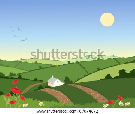 vector illustration of a remote country cottage set in green hills under a blue sky in eps 10 format - stock vector