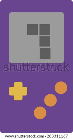 Vector illustration of a retro portable handheld gaming device. Videogame concept. - stock vector