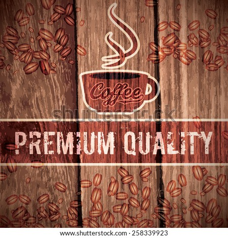 Vector illustration of a retro vintage coffee shop wooden background - stock vector