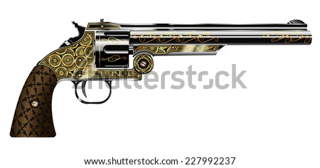 vector illustration of a revolver, engraved in the steampunk style isolated on white background - stock vector