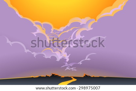 Vector illustration of a road, aiming for a horizon, with  beautiful crimson glow in the sky and the great cumulus clouds in the background. Empty space leaves room for design elements or text. Poster. - stock vector