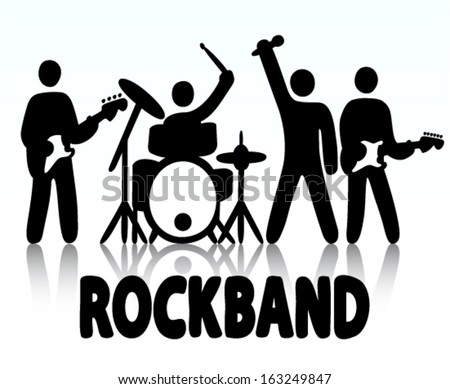 Vector illustration of a rock band, bassist, drummer, vocalist and guitar player icon style - stock vector