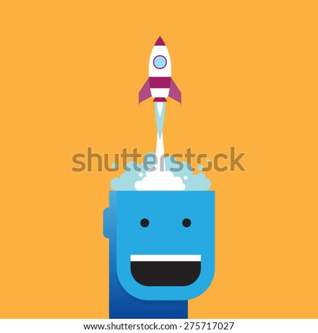 Vector illustration of a rocket launching from a guy's head. - stock vector