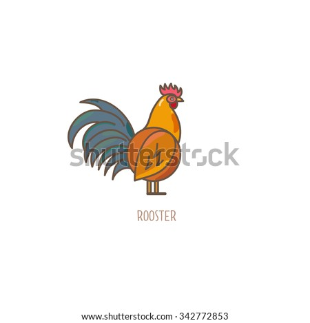 Vector Illustration of a rooster isolated on white background. - stock vector