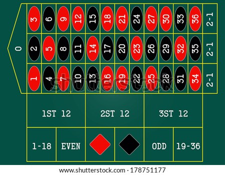 Vector illustration of a roulette table. - stock vector