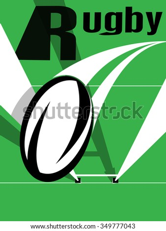 Vector illustration of a rugby ball going over the goal posts - stock vector
