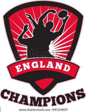 vector illustration of a rugby player catching lineout ball  inside shield with words England champions on isolated white background - stock vector