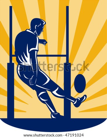 vector illustration of a rugby player kicking at goal post - stock vector