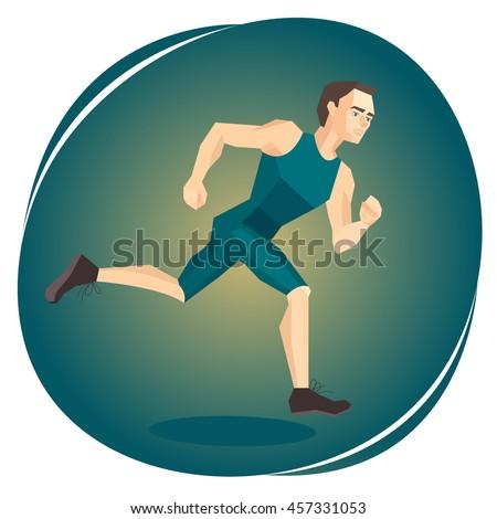 Vector illustration of a running athlete - stock vector