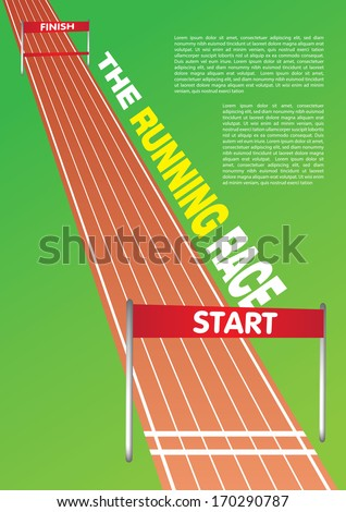 Vector illustration of a running race track with own area for headline and copy. - stock vector