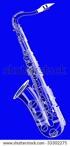 Vector illustration of a saxophone on a blue background - stock vector