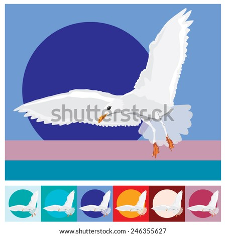 Vector illustration of a seagull on colorful backgrounds - stock vector