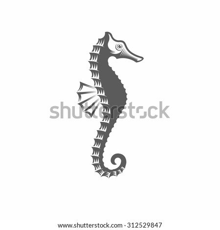 Vector illustration of a seahorse in the old-fashioned style and line-art style. Can be used as a tattoo / Seahorse black and white vector illustration - stock vector