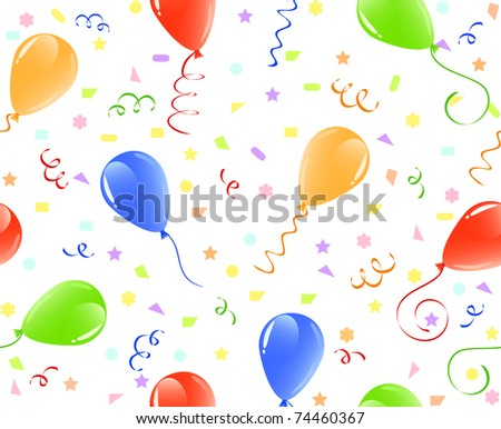 vector illustration of a seamless balloons background with confetti. - stock vector