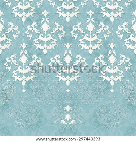 Vector illustration of a seamless lace pattern or Baroque, Victorian style. Luxury design with space for text and background of a similar element. For wedding invitations, greeting cards. - stock vector