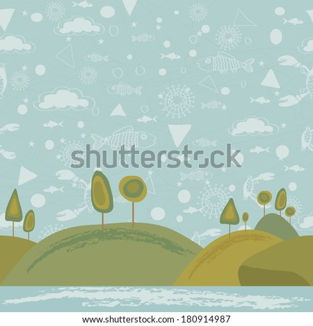 Vector illustration of a seamless landscape whimsical design for children's book or poster - stock vector