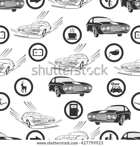 vector illustration of a seamless pattern of retro, monochrome cars and road , and service signs  - stock vector