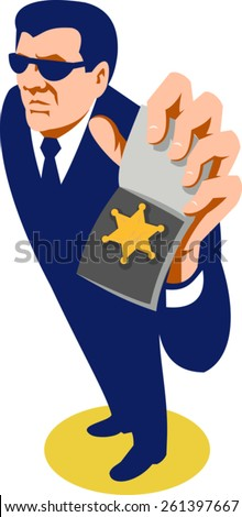 vector illustration of a secret agent detective police officer policeman showing id badge done in art deco retro style viewed from high angle. - stock vector