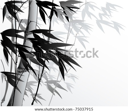 vector illustration of a serene bamboo background - stock vector
