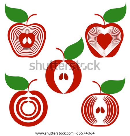 vector illustration of a set of apples isolated on white background. - stock vector