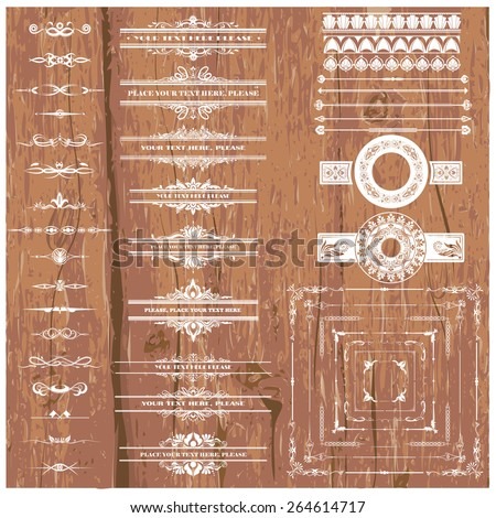 Vector illustration of a set of calligraphic dividers and floral page elements, corners and frames for scrapbook and other designs on wood background - stock vector