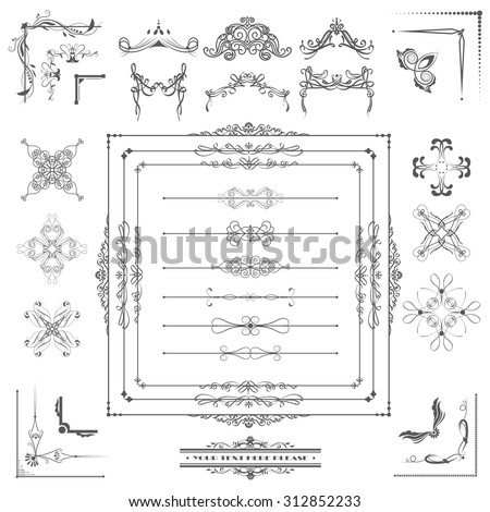 Vector illustration of a set of calligraphic dividers and floral page elements, corners and frames for scrapbook and other designs - stock vector