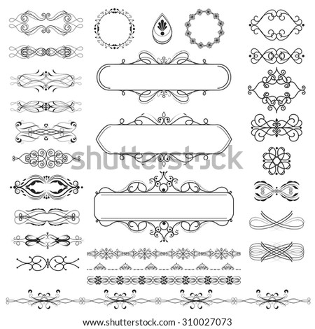 Vector illustration of a set of calligraphic page dividers, floral elements and frames for scrapbook and other designs - stock vector