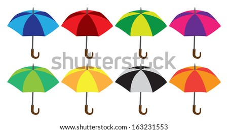 Vector illustration of a set of colorful umbrellas. - stock vector