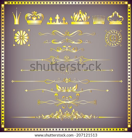 Vector illustration of a set of crowns with chapter dividers, eps 10 - stock vector