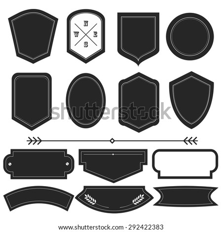 Vector illustration of a set of frames for labels, tags and other designs - stock vector