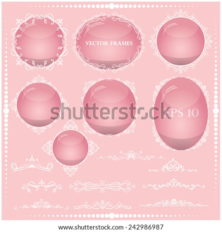 Vector illustration of a set of frames in pink for Valentine's Day - stock vector